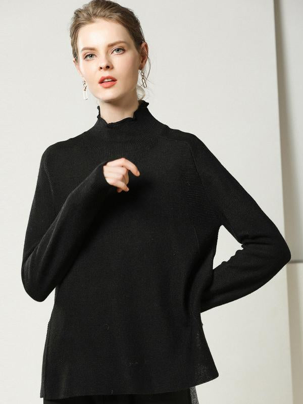 Black Knitwear Women Long Sleeve Sweaters