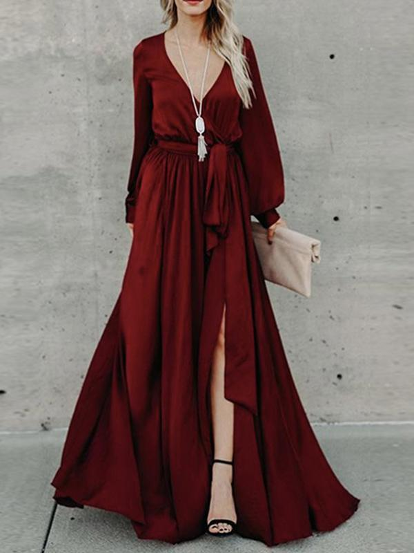 Women V-neck Casual Maxi Dresses