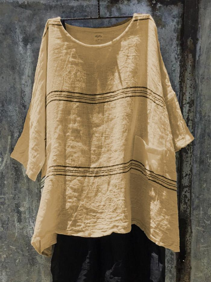 Asymmetrical Linen 3/4 Sleeve Solid Casual Tops