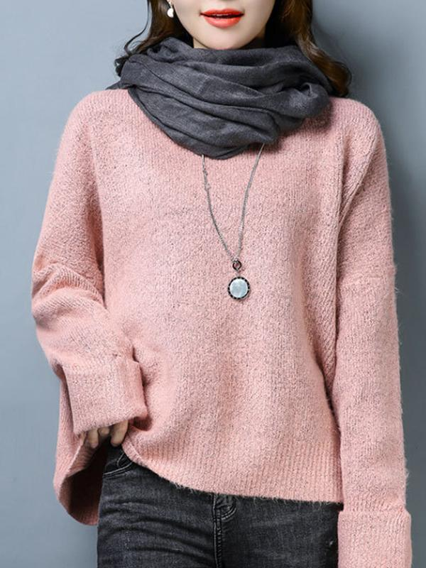 Women Plain Pullover Sweaters