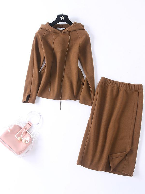Women Plain Hoodies Top And Midiskirt Two Piece Set Outfits