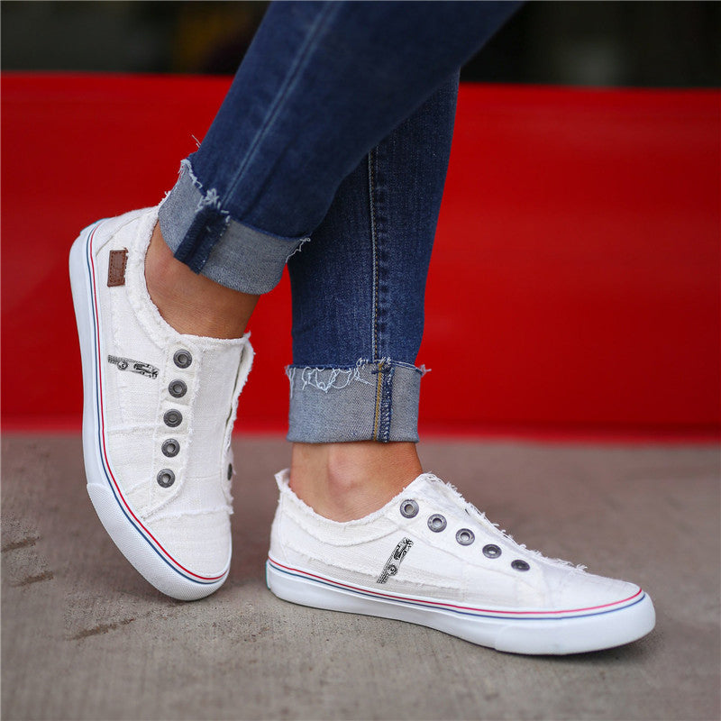 Women Zipper Daily Canvas Slip-on Athletic Sneakers(Special Offer: Buy 1 Get 2nd 15% Off-Code: YC15)