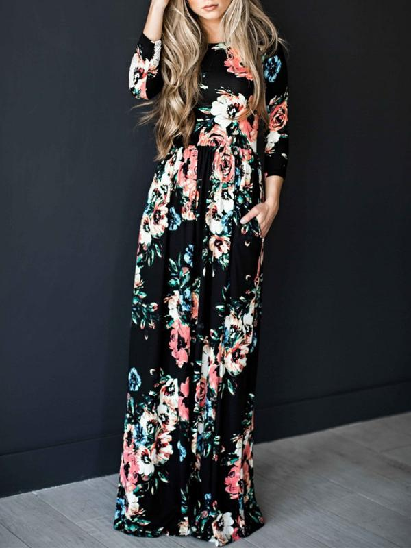 Women Long Sleeve Floral Print Women's Maxi Dress
