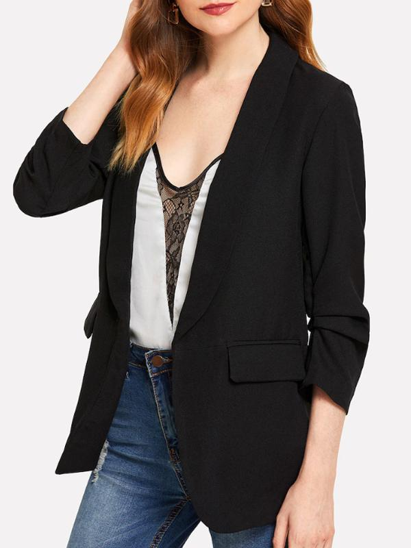 Women Shawl Collar Solid Blazer
