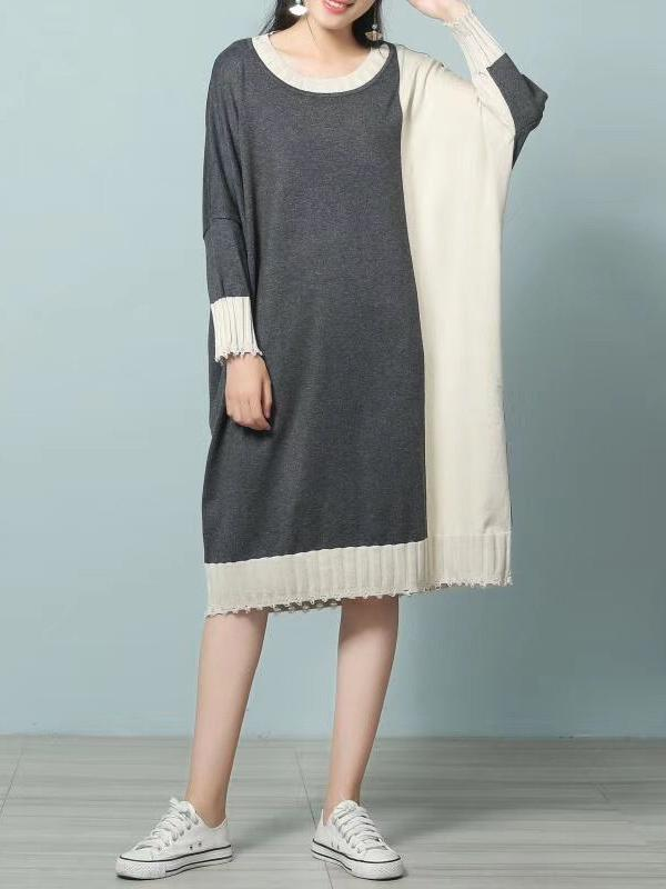 Women Round Neck Long Sleeve Knitwear Sweater Midi Dress