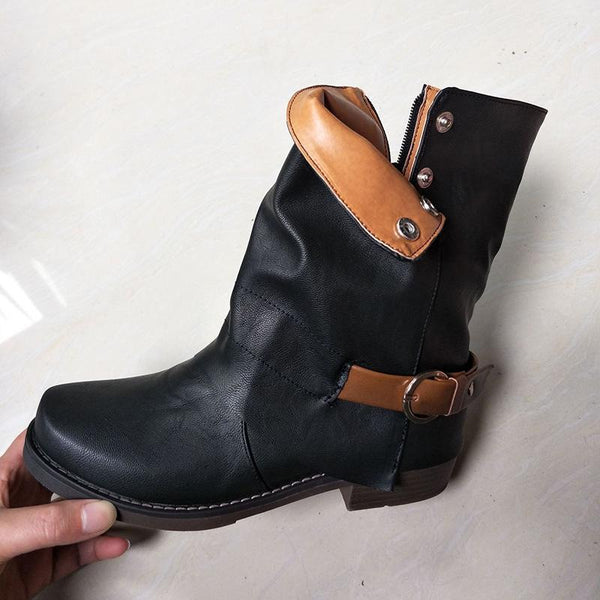 Women Daily Zipper Winter Low Heel Plus Size Boots