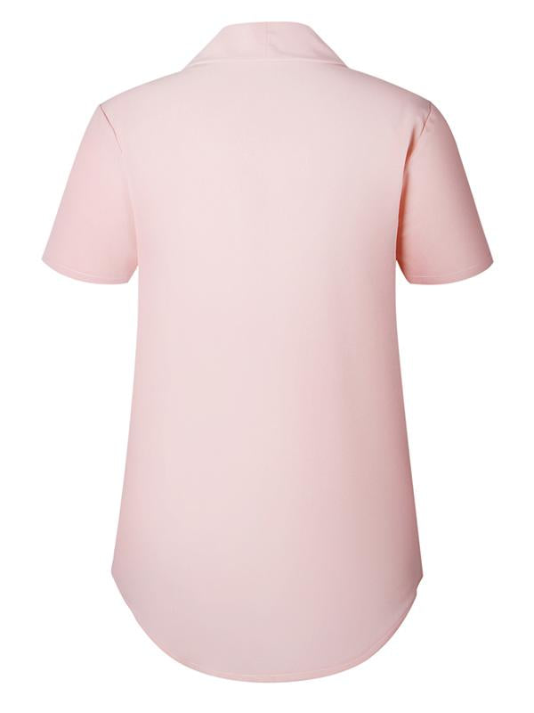 Women Elegant Solid  Short Sleeve Tops