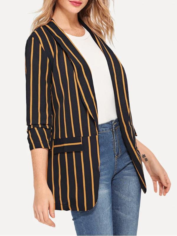 Women Vertical Stripe Gathered Sleeve Blazer