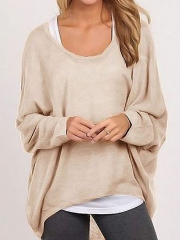 Women Plus Size Long Sleeve Crew Neck Knitted Casual T-Shirt