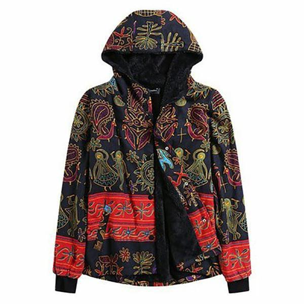 Plus Size Ethnic Boho Print Warm Flannel Inner Cotton Padded Hoodie