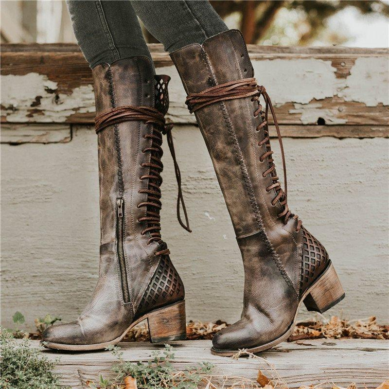 Women Vintage Lace-up Hollow-Out Boots Chunky Heel Color Block Boots