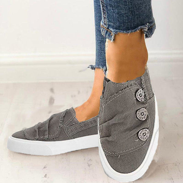 Women Casual Button Comfy Loafers