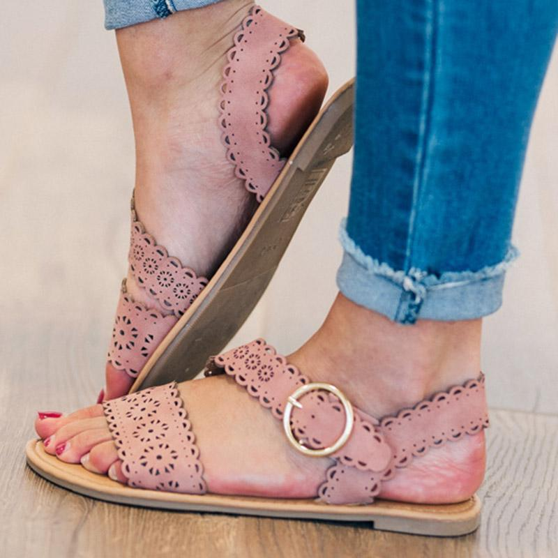 Casual Summer Cut Out Sandals Flats