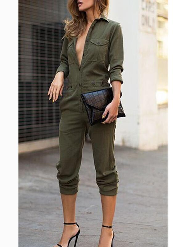 Women Lapel Long Sleeve Green Jumpsuit