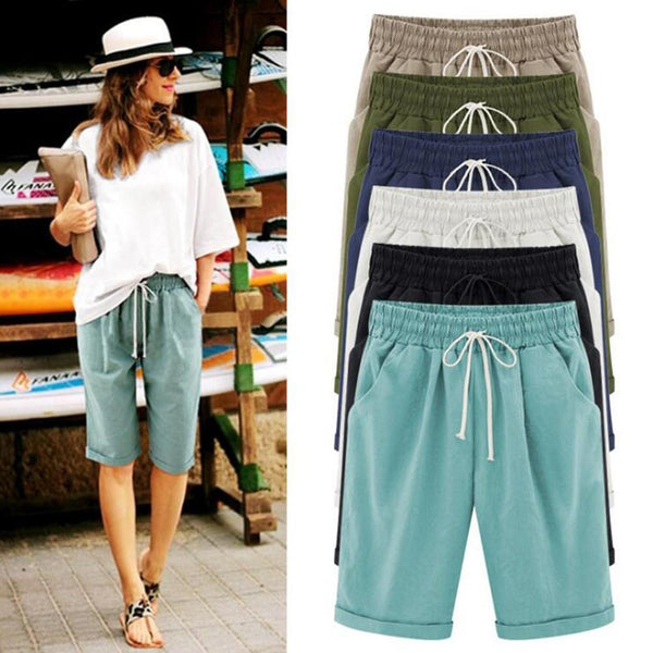 Women's Plus Size Casual Shorts Cotton Fifth Knee-Length Pants