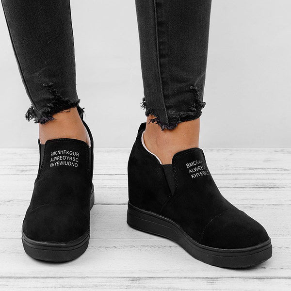 Women Winter Faux Suede Sneaker Letter Wedge Heel Shoes