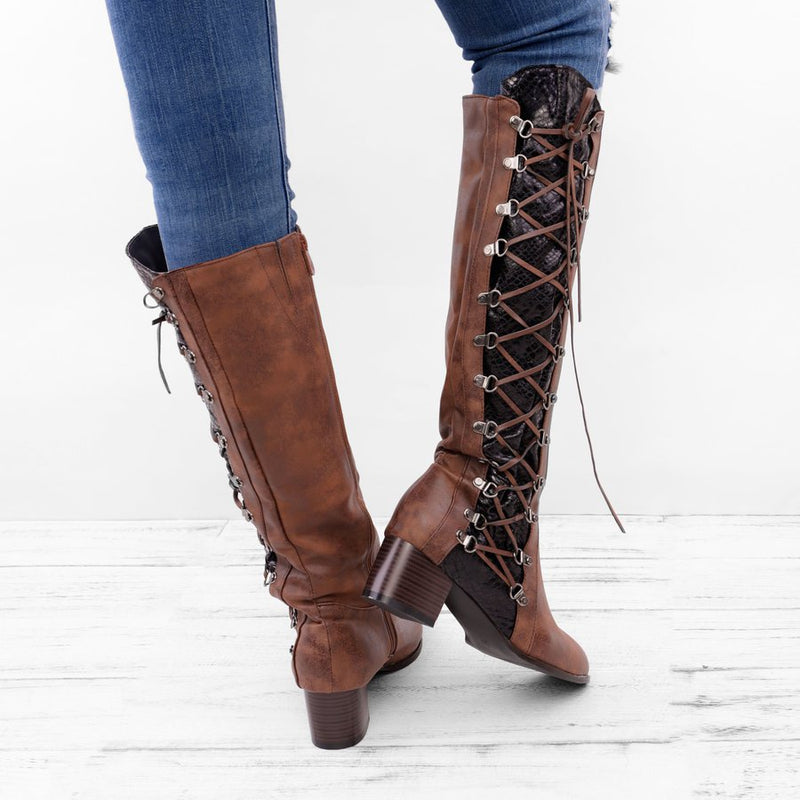 Women Vintage Knee-High Zipper Chunky Heel Daily Boots