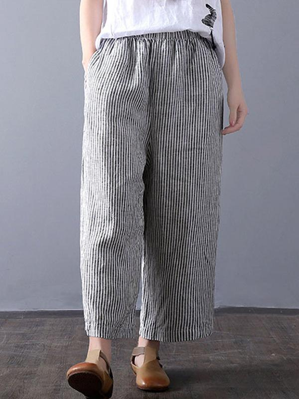 Women Stripe Casual Pocket Wide Leg Gray Pants