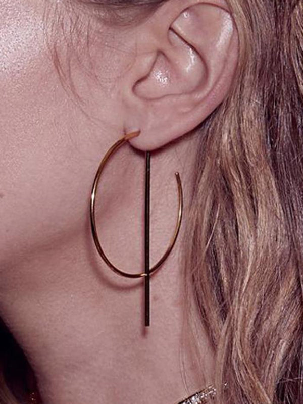 Womens Round Alloy Earrings
