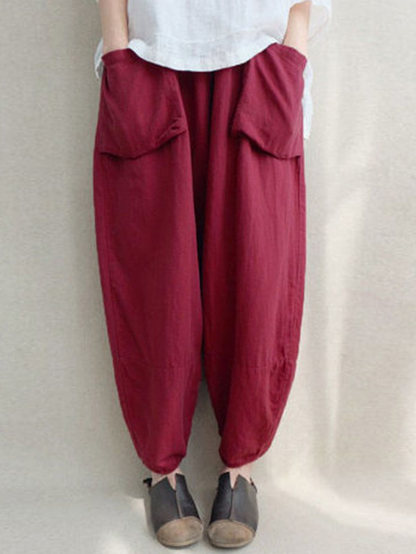 Women Casual Linen Pockets Plus Size Pants