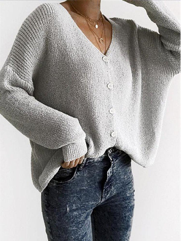 Women Solid Color V Neck Button Down Sweater