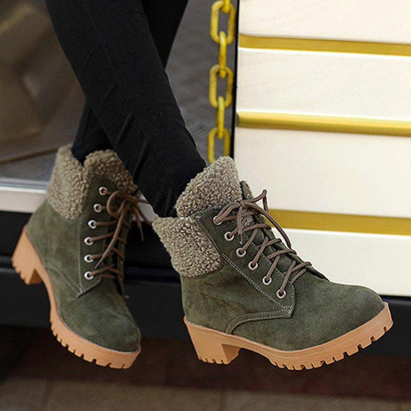 Women Plus Size Fleece Ankle Boots Casual Shoes