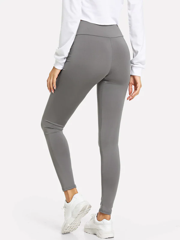 Women Wide Waistband Solid Leggings