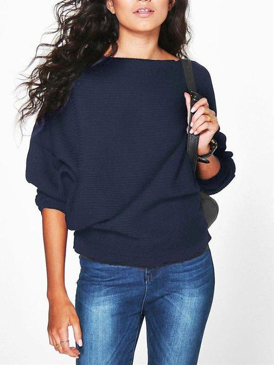 Women Loose Batwing Sleeve Knit Sweater