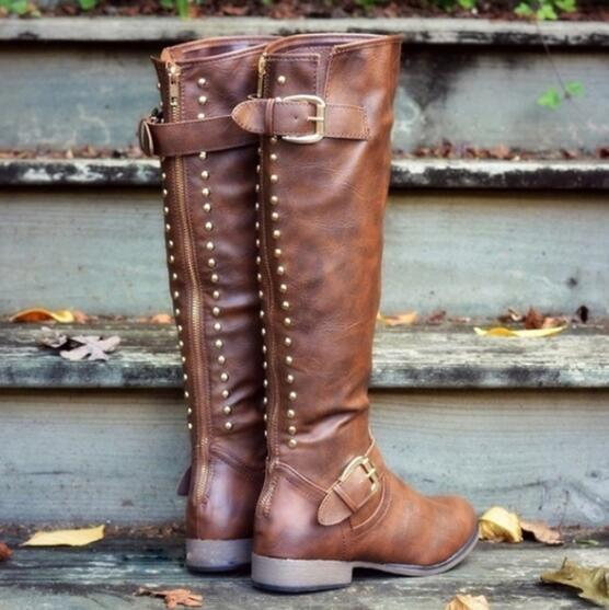 Women Fashion Leather Zips Jackboots Heel Boot Shoes