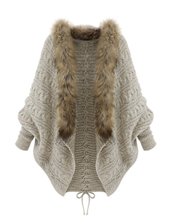 Autumn And Winter Cardigan Loose Sweater Cloak Collar Bat Sweater Women's Coat