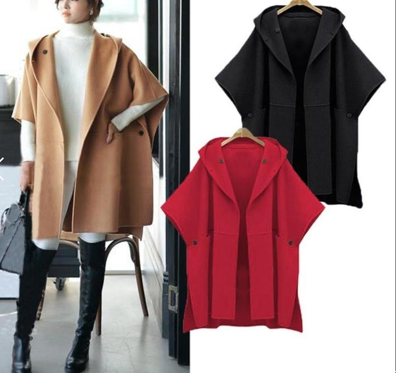Women Plus Size Fashion Women Woolen Winter Loose Poncho Coat Jacket Cape Windbreaker Cloak Outwear Overcoat