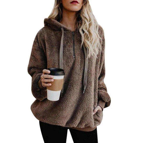 Long Sleeve Shift Casual Solid Hoody for Women
