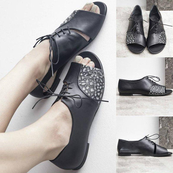 Black Handmade Split Joint Peep Toe Lace-Up Sandals