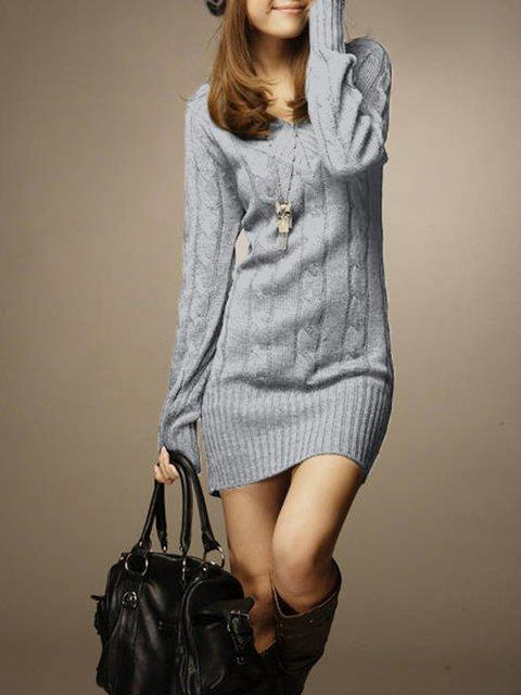 V neck Women Casual Long Sleeve Knitted Cable Plain Casual Dress One Size