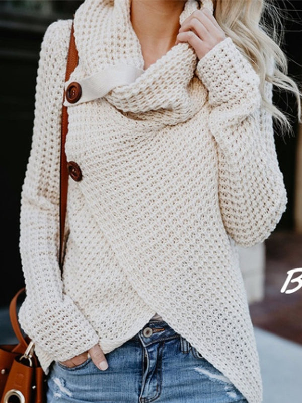 Women Asymmetrical Slit Cowl Neck Knitted Sweater