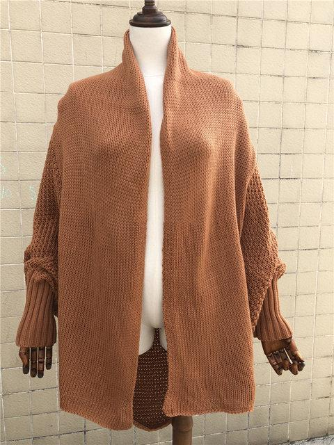 Women Knitted Casual Knitted Solid Cotton Winter Cardigan One Size