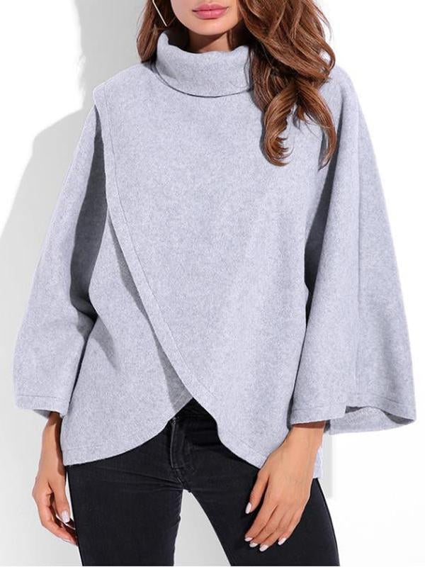 Casual Irregular Turtleneck Solid Color Long Sleeve Women Sweatshirts