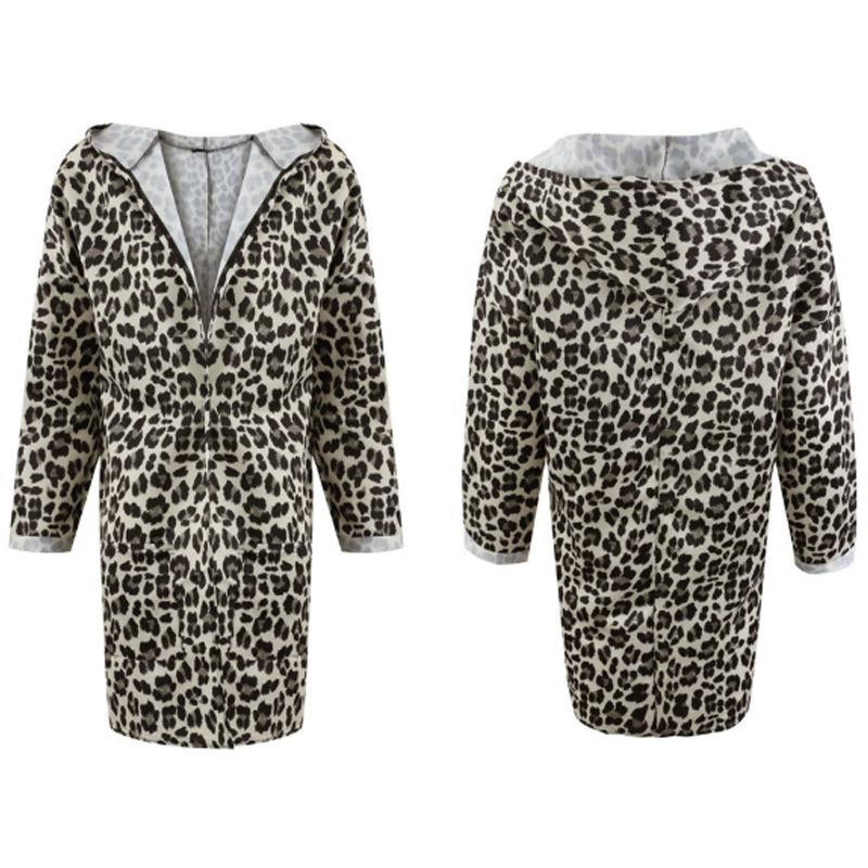 Women Hooded Leopard Printed Long Sleeve Fashion Trench Coats