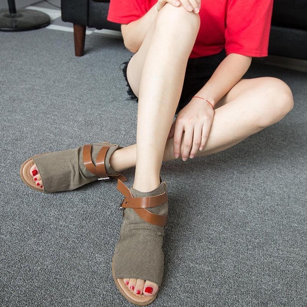 Women Denim Adjustable Buckle Sandals