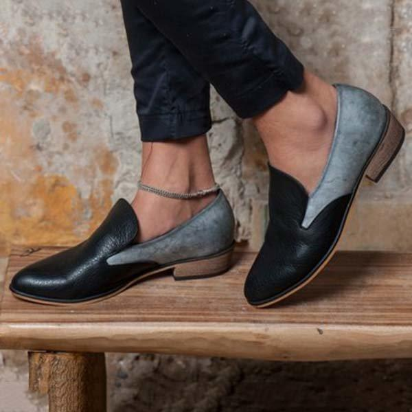 Color Block Paneled Slip On Loafers Low Heel Casual Loafers
