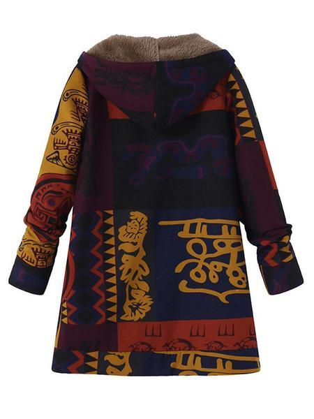 Women Long Sleeve Hoodie Casual Abstract Plus Size Coat