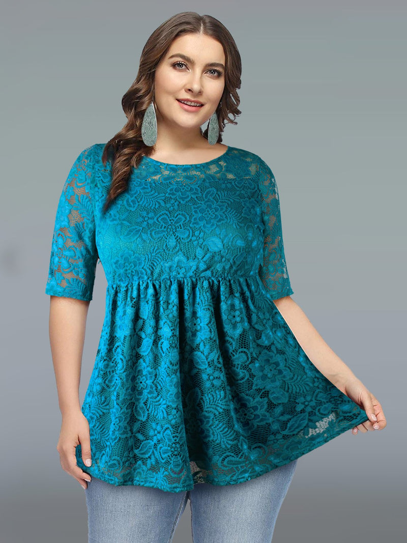 Women's Plus Size Floral Lace Tops Casual Shirt