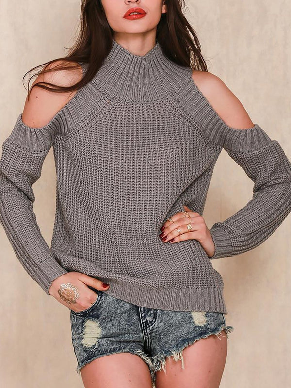 Women Cold Shoulder Knitted Shift Casual Turtleneck Sweaters