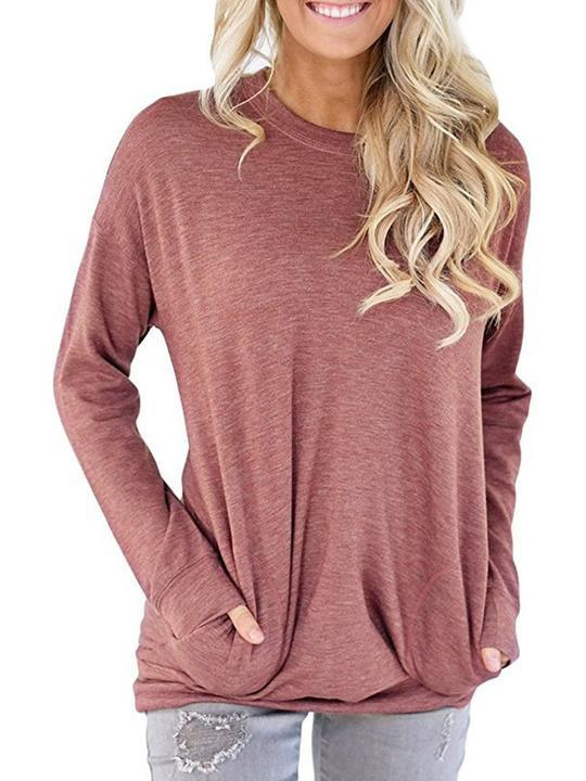 Women Pockets Crew Neck Long Sleeve Casual T-Shirt