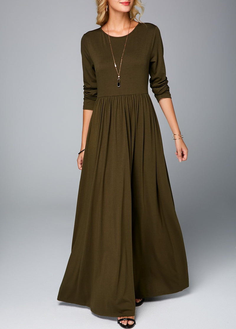 Women Long Sleeve Army Green Maxi Dress