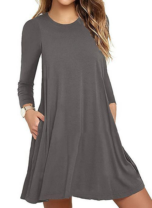Women Solid Pockets Long Sleeve Above Knee A-line Dress