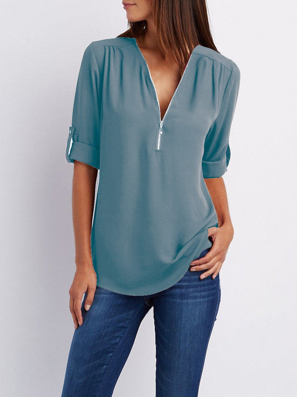 Women Chiffon Half Sleeve Zipper Solid V neck High Low Plus Size Blouse
