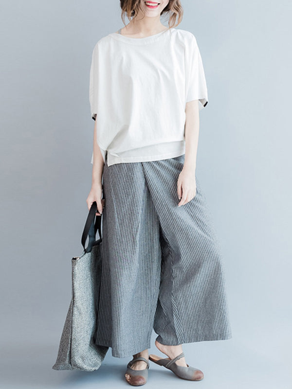 Women Striped Casual Pockets Pants