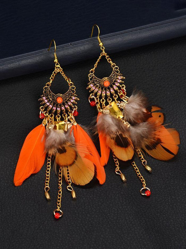 Womens Long Feather Pendant Tassel Earrings