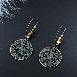 Fashion Antique Alloy Vintage Round Boho Ethnic Dangle Drop Earrings